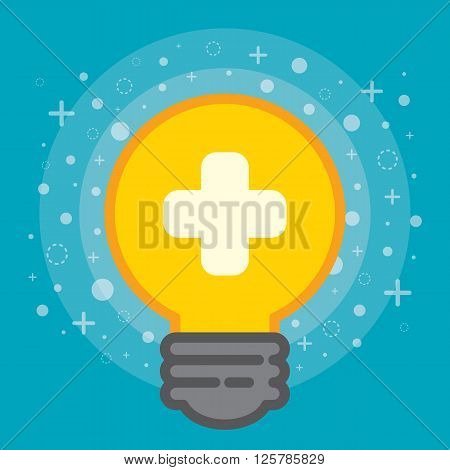 Light bulb with plus symbol. Positive thinking concept. Cartoon flat and line design. Vector illustration