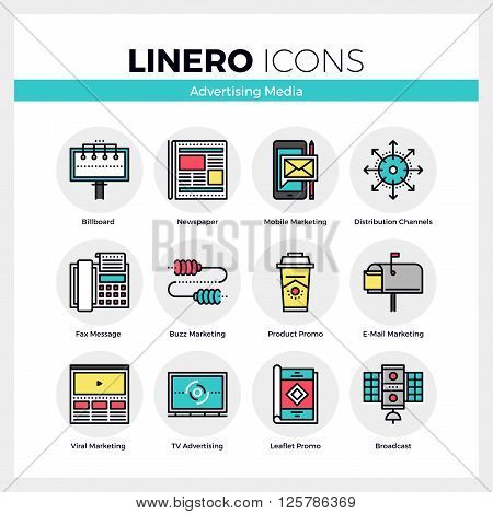 Advertising Media Linero Icons Set