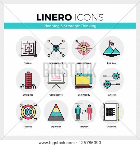 Strategic Thinking Linero Icons Set