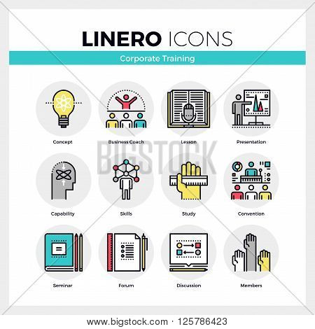Corporate Training Linero Icons Set