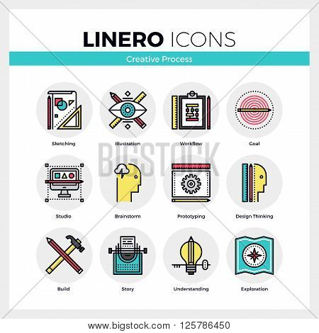 Creative Process Linero Icons Set