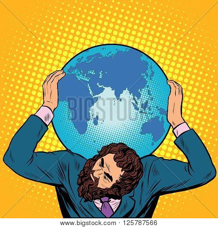 Atlas businessman holds the Earth on his shoulders pop art retro style. International Earth day. caring for the planet. ecology. responsible business