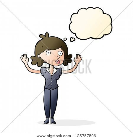 cartoon woman surrendering with thought bubble
