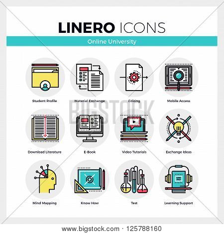 Online University Linero Icons Set