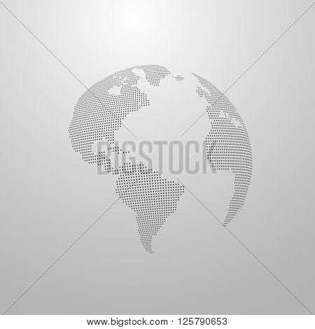 vector illustration of a world map. globe label design. world global communication concept. international communication concept. global world vector map. halftone vector world map