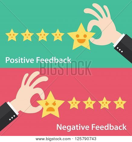 Business hand give five star of positive and negative feedback. Vector illustration of customer feedback concept. Minimal and flat design