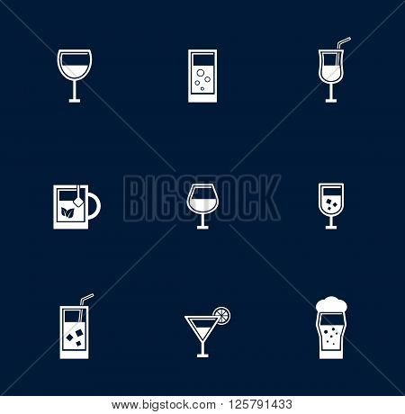 set isolated goblet and glasses object on blue background