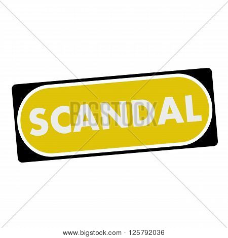 scandal white wording on yellow background black frame