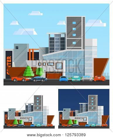 Shopping mall building orthogonal compositions set with parking and cars flat isolated vector illustration