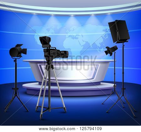 Realistic blue news studio interior with table on pedestal world map on wall floodlight camera vector illustration