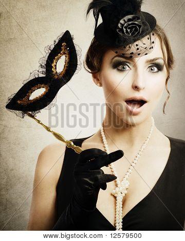 Surprised Retro Woman.Masquerade