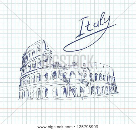 hand drawn sketch of Coliseum on a sheet in a cage