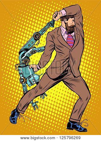 Cyclops businessman against a robot pop art retro style. Human vs artificial intelligence