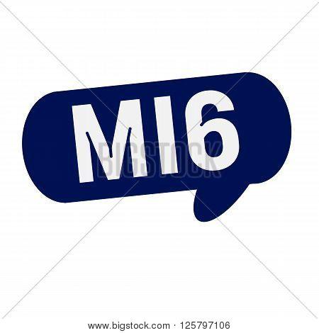 MI6 wording on Speech bubbles blue cylinder