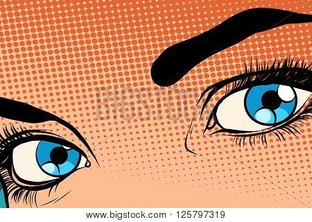 Beautiful girl eye raster effect halfton pop art retro style. Face of a beautiful woman. Vector drawing people