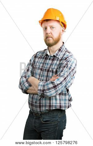 Bearded man in an orange construction helmet