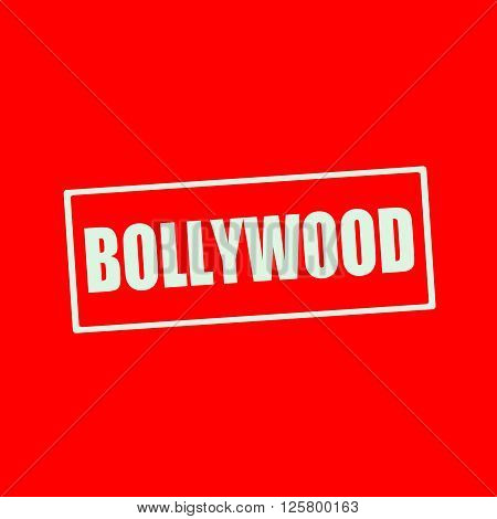 Bollywood white wording on rectangle red background