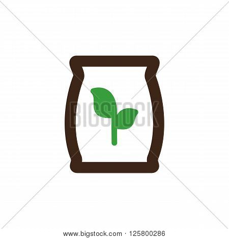 Fertilizer icon outline. Garden. Farm. Present By Green Nitrogen Potassium Phosphorus and Leaf Sack Vector illustration eps 10