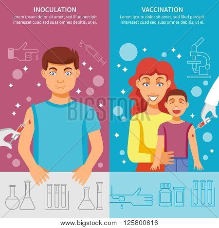 Medical vertical banner set with child and adult vaccination elements for prevention infection diseases isolated vector illustration