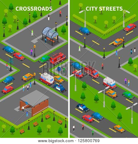 Street traffic isometric vertical banners set with crossroads underpass bus stop pedestrians trucks and cars vector illustration