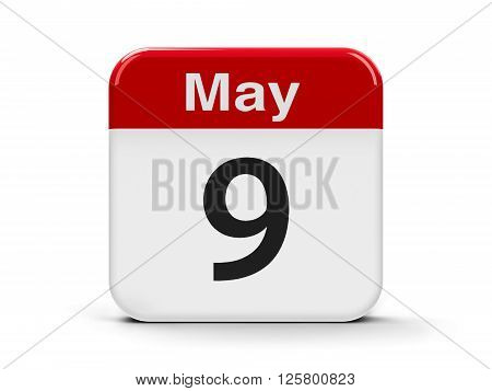 Calendar web button - The Ninth of May - Europe Day and Victory Day three-dimensional rendering 3D illustration poster