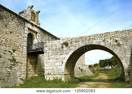 Drawbridge of castle of the Counts XV century in Chinchon near of Madrid