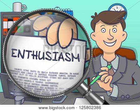 Enthusiasm through Magnifier. Officeman Holds Out a Text on Paper. Closeup View. Multicolor Doodle Illustration.