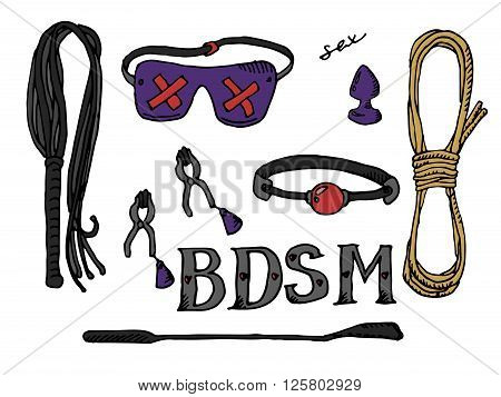 BDSM set icons. Hand drawn vector stock illustration