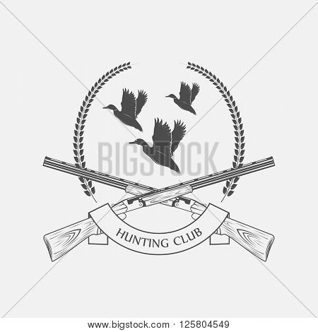 duck hunting with shotguns icon - vector illustration