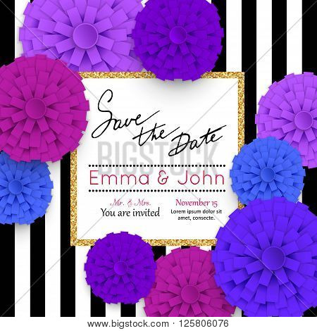 Save the date cards with paper flowers and gold frame. Marriage invitation card. Wedding invitation card. Vector illustration.