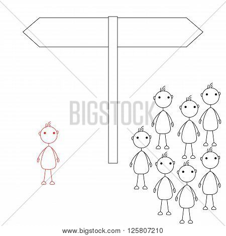 Stick figures standing in front of road sign