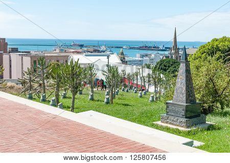 PORT ELIZABETH SOUTH AFRICA - FEBRUARY 27 2016: The Garden of Remembrance in the Donkin Reserve for deceased Councilors who diligently served the Nelson Mandela Bay Council from 1994