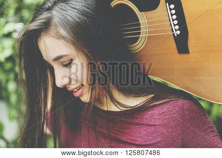 Woman Guitar Musical Instrument Music Activity Concept