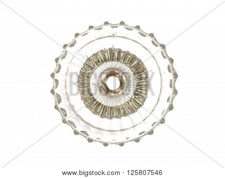 Beautiful glass decorative element isolated on a white background.