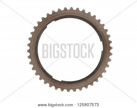 Large metal gear brown isolated on white background.