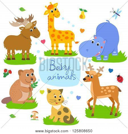 Nice Childish Background. Giraffe Beaver Cat Hippo Elk Deer. Seamless Vector Pattern. Baby Animals Playing Together. Baby Animal For Kids. Baby Animals Pictures. Baby Animal Mask.