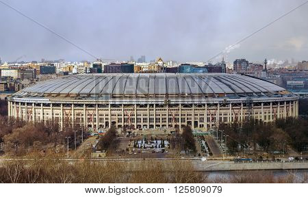 view of Luzhniki stadium from Sparrow hills Moscow Russia