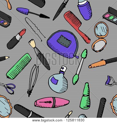 Sets of cosmetics. Hand drawn vector stock illustration. Seamless background pattern