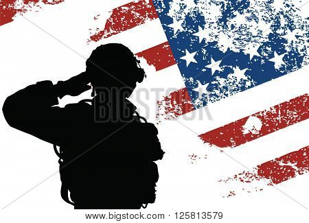 Saluting US soldier with the American Flag on the background