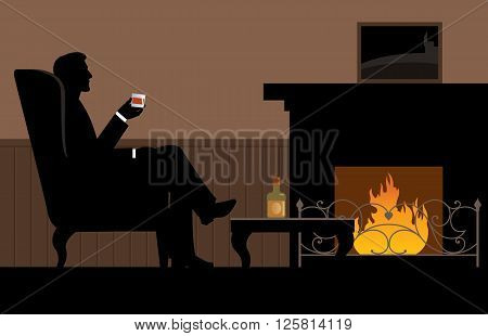 Man with a glass in her hand sitting in the chair by the fireplace Stock vector illustration