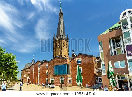 Dusseldorf, Germany - June 10, 2014: St Lambertus church, a Roman Catholic church at the riverside of Dusseldorf