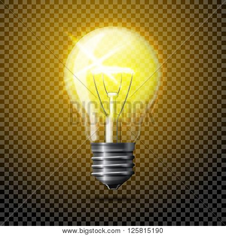 Transparent  realistic glowing light bulb on plaid background.
