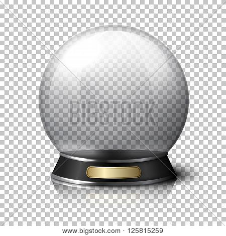 Transparent realistic crystal ball for fortune tellers. Isolated on plaid background with reflection.