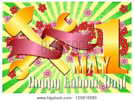 Postcard for holiday of Spring and Labor. Mayday. 1 may with scattering of flowers and golden work tools with red ribbon on green striped background. Vector illustration