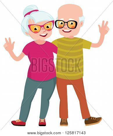 Happy seniors couple husband and wife standing in an embrace Stock Vector illustration
