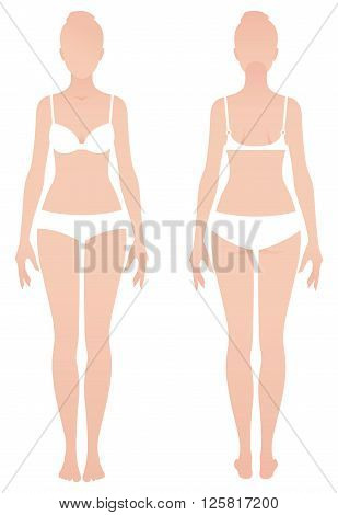 Young naked woman in underwear in front and back view Stock vector illustration