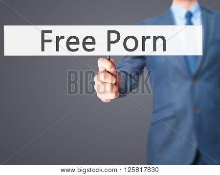 Free Porn - Businessman Hand Holding Sign