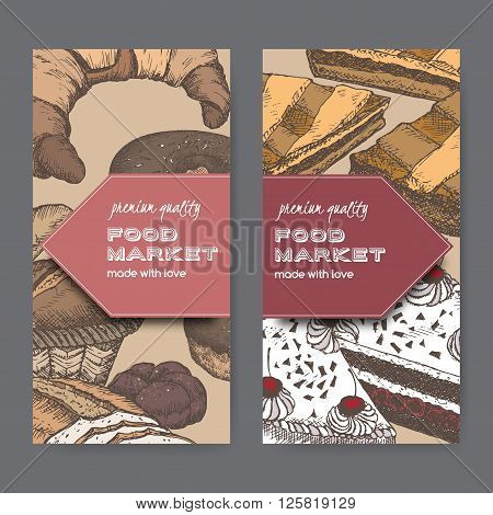 Set of 2 color food market label templates with cakes, pie, bread, croissant. Great for market, restaurant, cafe, food label design.