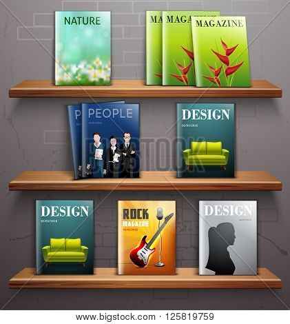 Magazines and textbooks on 3d bookstore shelves realistic vector illustration