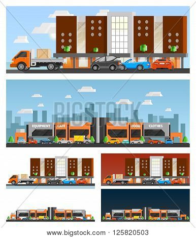 Shopping mall and city orthogonal compositions set with food and clothes symbols flat isolated vector illustration